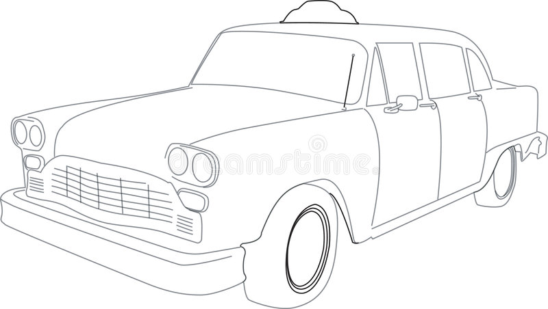 Illustration of a Taxi Cab. Outlined illustration of an old-time taxi cab vector illustration