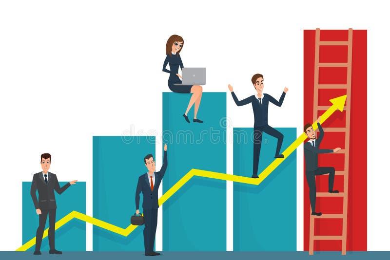 Illustration of team of businessman on arrow graph. Team leader vector illustration
