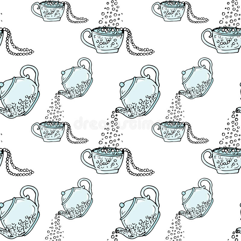 Illustration teapot and cup, hand drawn. Necklace and beads. Seamless pattern. royalty free illustration
