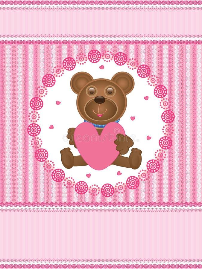 Teddy Bear Love Card_eps Stock Photo