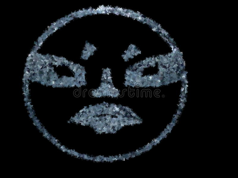 Illustration of a terrible face on a black background, Creepy human head, full face royalty free stock photography
