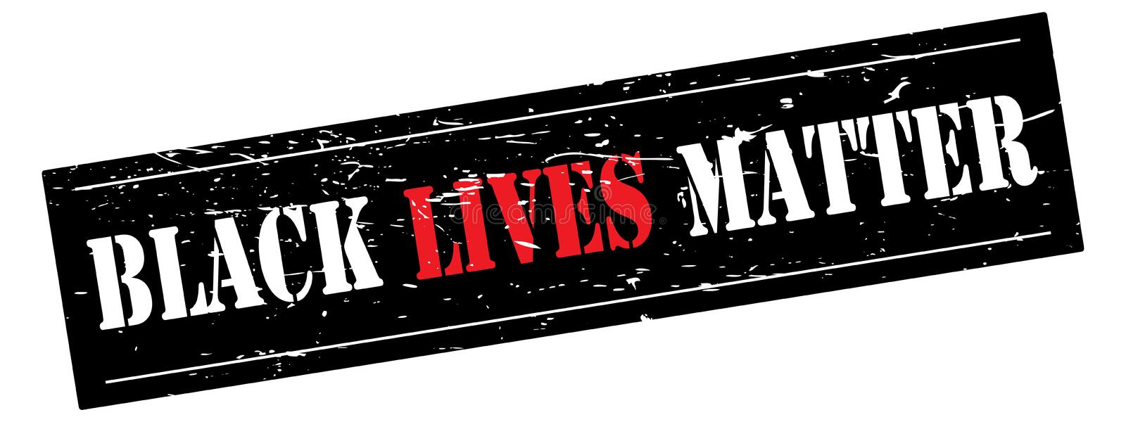 Black Lives Matter banner. Illustration of the text BLACK LIVES MATTER in white and red on a grunge black background, isolated on a white background