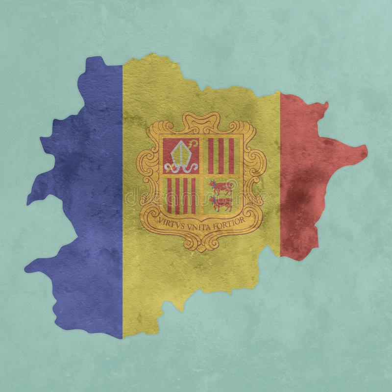 Textured map and flag of Andorra. Illustration of a textured map and flag of Andorra stock illustration