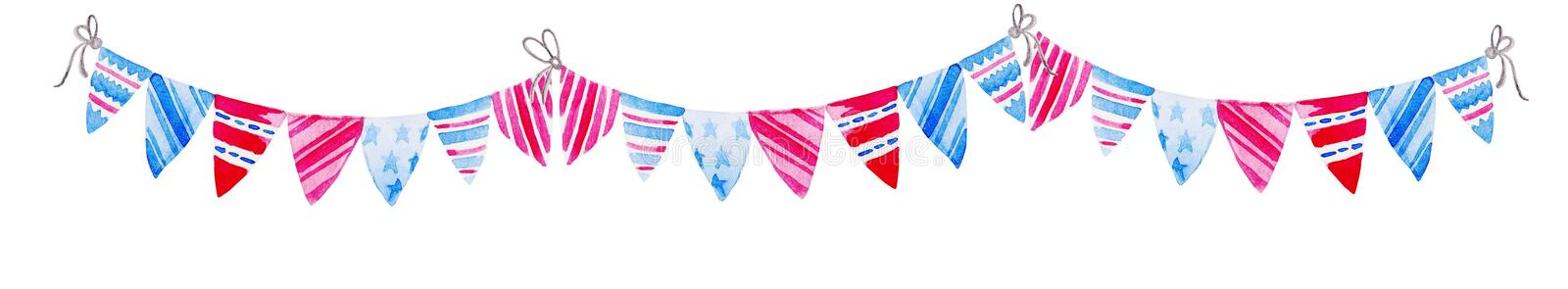 Illustration for 4th of July. Watercolor Bunting Flags. Celebration of American Independence Day. Illustration for for 4th of July. Watercolor Bunting Flags stock illustration
