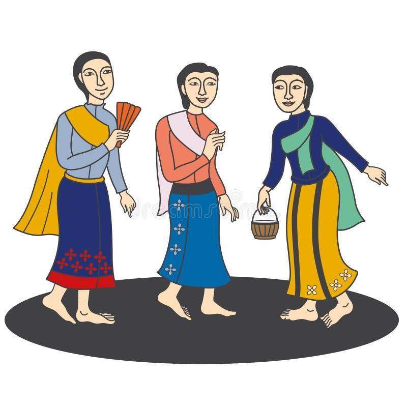 Illustration of Thai traditional women's conversation stock illustration