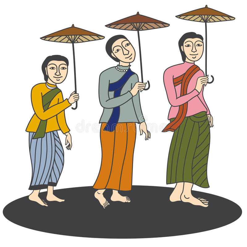 Illustration of thai women in mural painting vector stock for Mural vector
