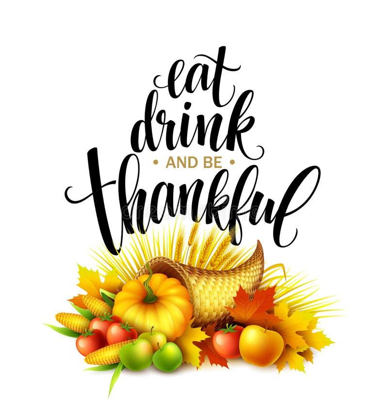 Illustration of a Thanksgiving cornucopia full of harvest fruits and vegetables. Fall greeting design. Autumn harvest. Celebration. Pumpkin and leaves. Vector vector illustration