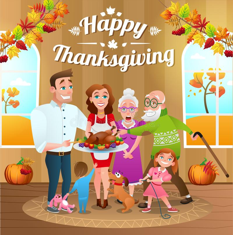 Illustration for thanksgiving day with happy family and baked turkey. Illustration for thanksgiving day. Happy family with baked Turkey. Background decorated royalty free illustration
