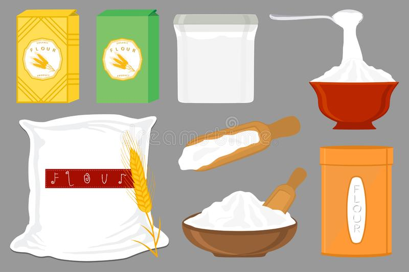 Illustration on theme big set different types dishware filled wheat flour. Wheat flour pattern consisting of collection dishware for organic cooking. Tasty vector illustration