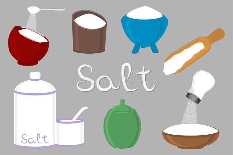Illustration on theme big set different types filled salty salt royalty free illustration