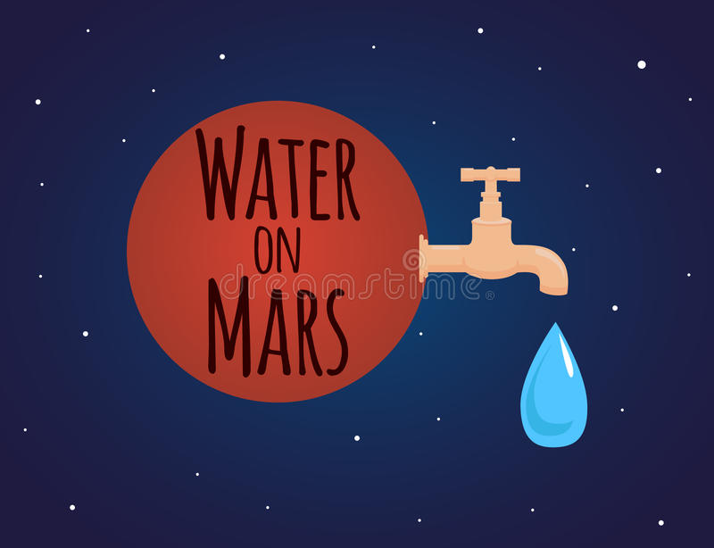 Illustration on the theme of discovery of water on Mars royalty free illustration