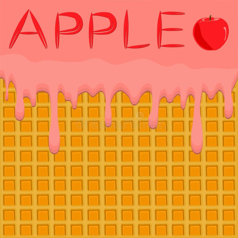 Illustration on theme falling runny apples drip at sugary waffle cookie. Apple pattern consisting of drip meal for organic healthy waffle cookies. Drip apple vector illustration