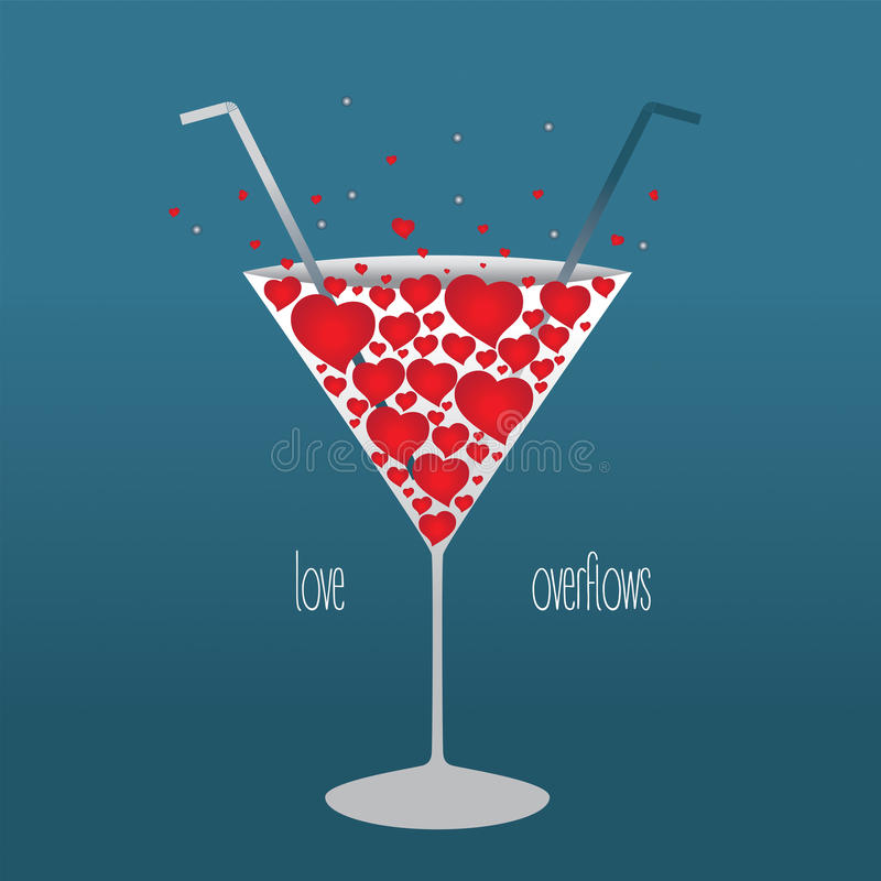 Illustration on the theme of Valentine's day, a glass royalty free illustration