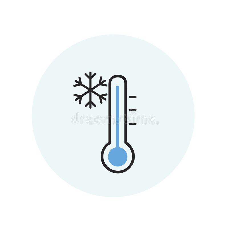 Illustration of thermometer freezing temperature stock illustration