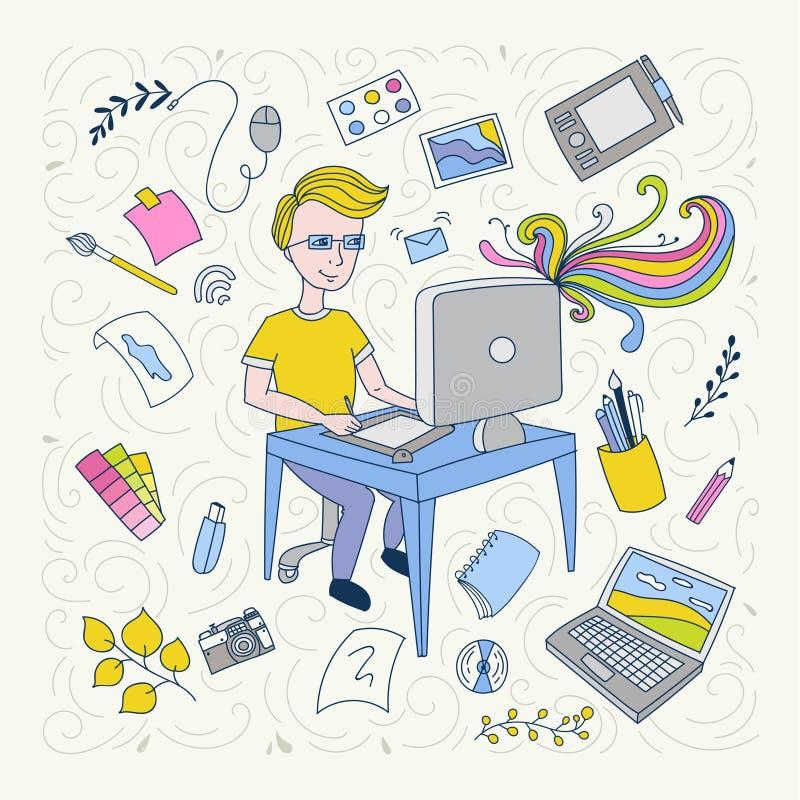 Handdrawn illustration on profession concept. graphic designer vector illustration