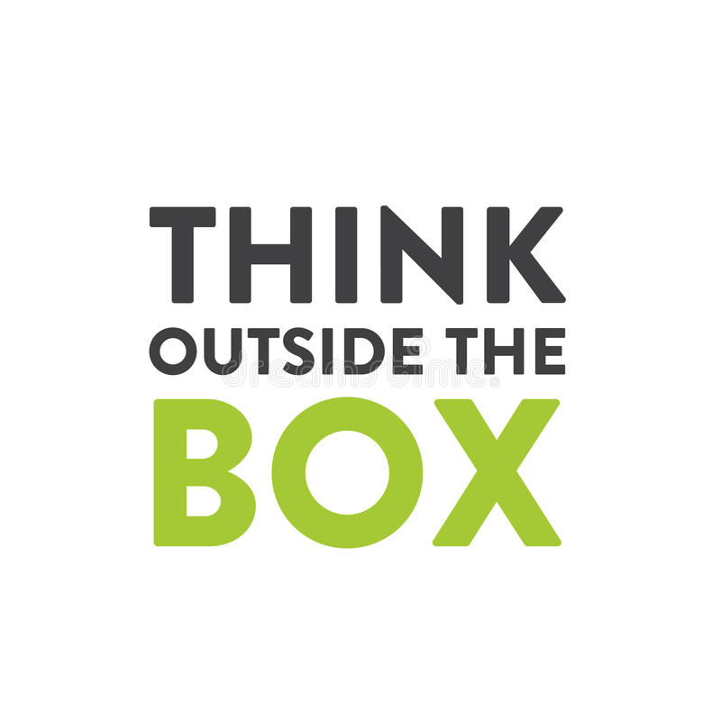 Illustration of Think Outside the Box Concept , Imagination, Smart Solution, Creativity and Brainstorm Quote royalty free illustration