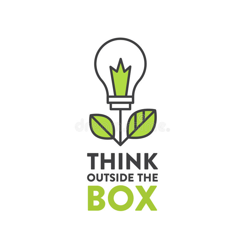 Illustration of Think Outside the Box Concept , Imagination, Smart Solution royalty free illustration