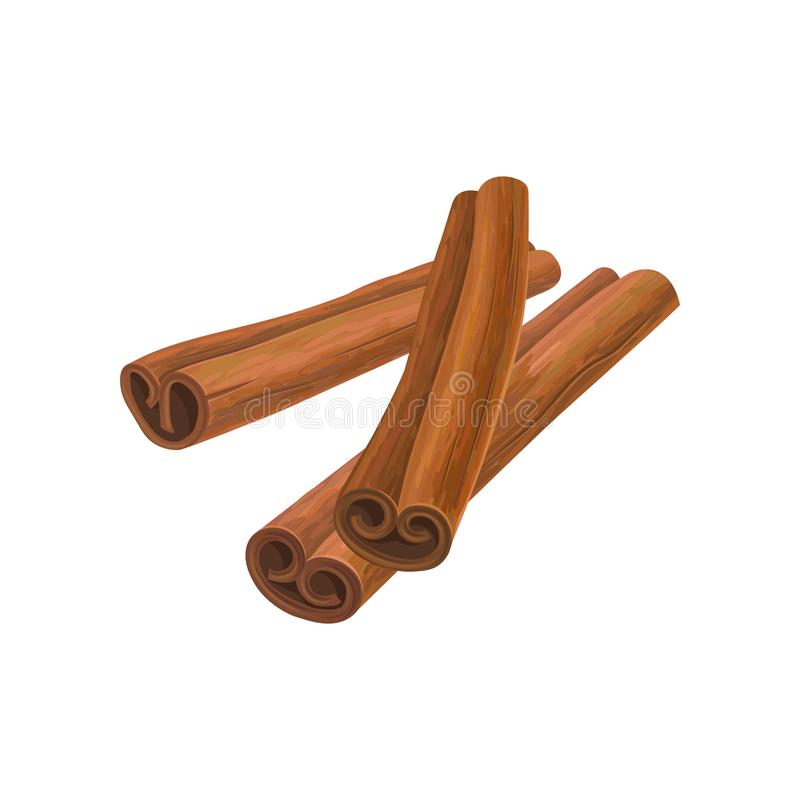 Illustration of three brown cinnamon sticks. Aromatic condiment for dishes. Culinary theme. Design for promo poster. Cafe menu or product packaging. Detailed royalty free illustration