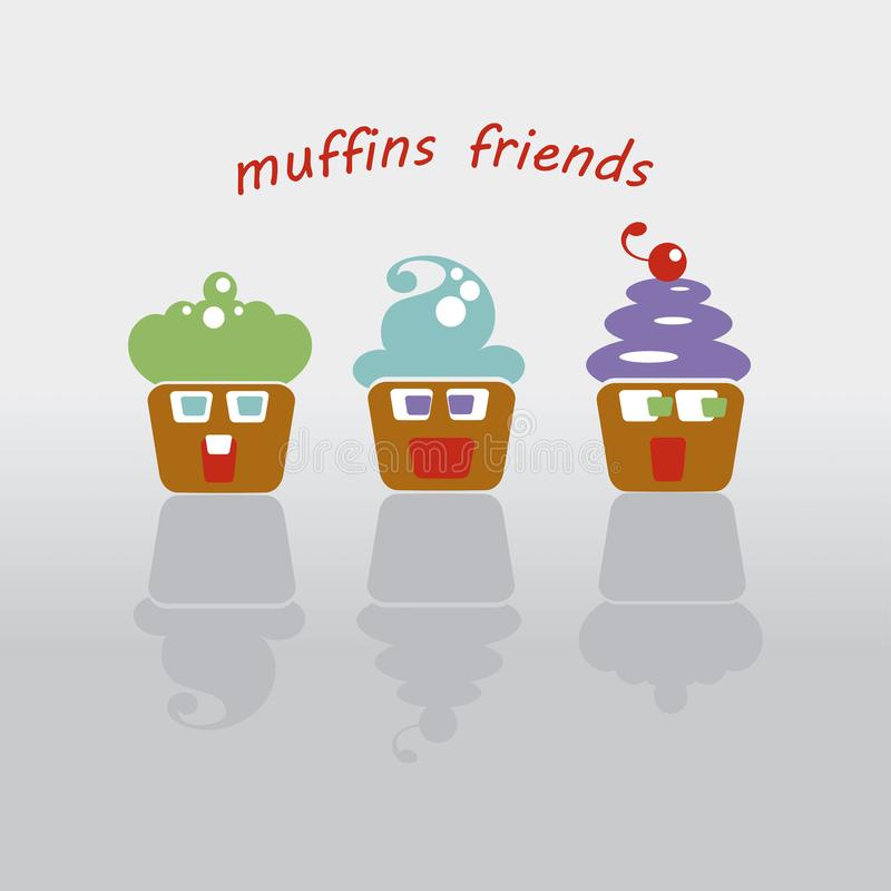 Illustration of three cupcakes with faces vector illustration