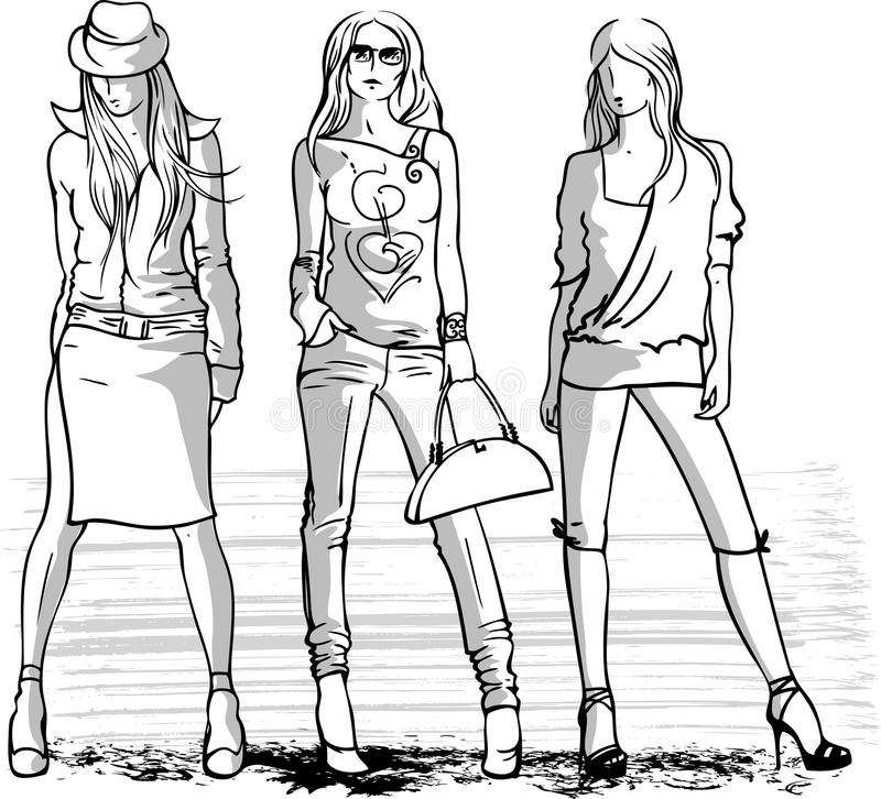 Illustration of three fashion girls vector illustration