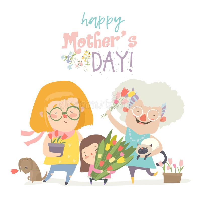 Three generations of women of different ages from child to young adult mother and senior grandmother royalty free illustration