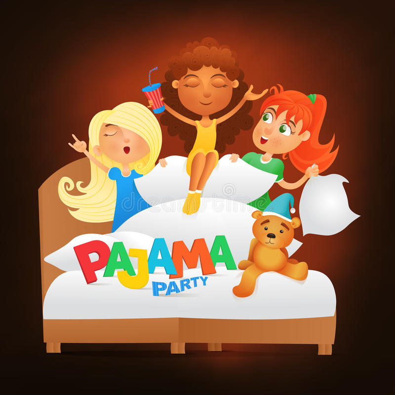 Illustration of three girls having pajama slumber party stock illustration