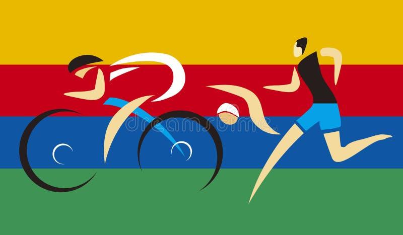 Three Triathlon competitors. stock illustration