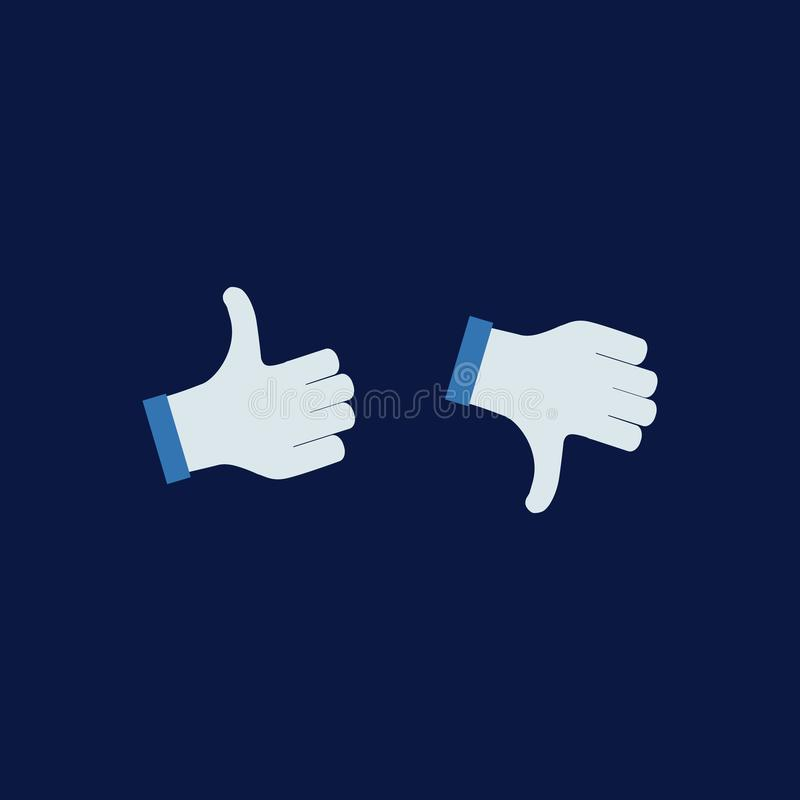 Illustration thumbs up and down buttons; isolated on white background. vector illustration