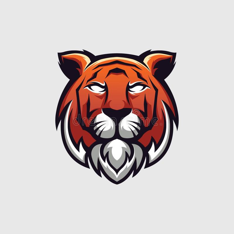 Illustration of a tiger head logo, for logo templates, emblems and for all needs stock illustration