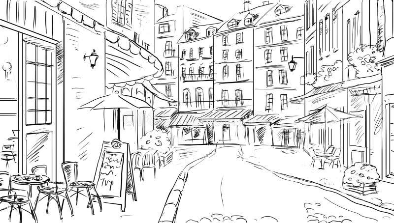 Illustration till den gammala townen royaltyfria bilder