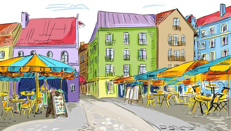 Illustration till den gammala townen arkivbilder