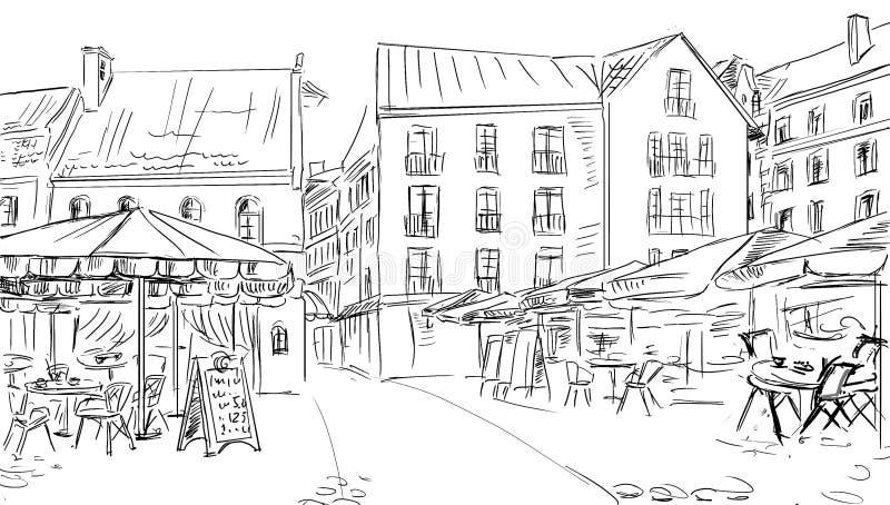 Illustration till den gammala townen arkivfoton