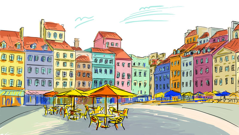 Illustration till den gammala townen royaltyfri fotografi