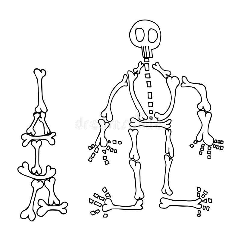 Illustration tirée d'enfant squelettique de bande dessinée illustration de vecteur