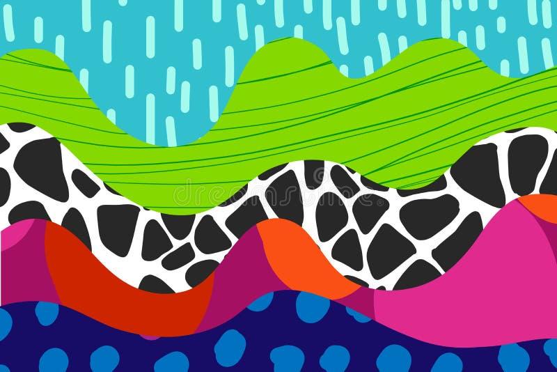 Illustration tirée par la main abstraite de fond dans le pourpre rose rouge noir vibrant d'herbe verte de ciel bleu de couleurs illustration de vecteur