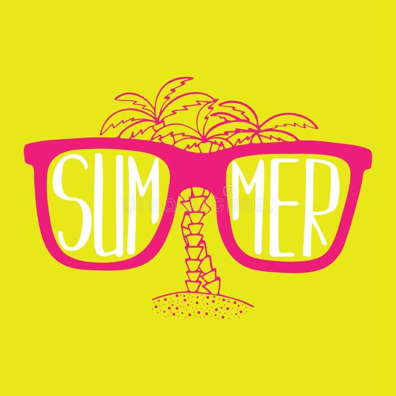 Illustration tirée par la main avec des lunettes de soleil et des paumes avec le lettrage illustration de vecteur