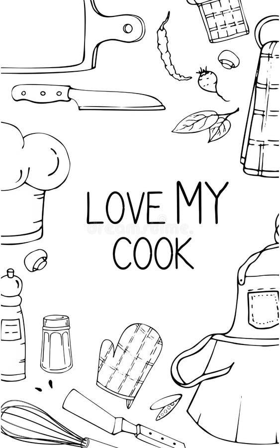 Illustration tirée par la main avec des ustensiles de cuisine Dessin réel de vecteur des outils coocking et de la citation Art cr illustration stock