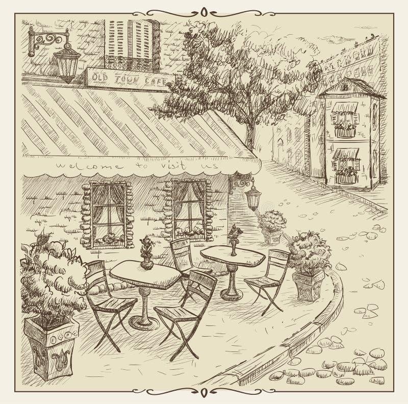 Illustration tirée par la main, café de rue dans la vieille ville illustration de vecteur