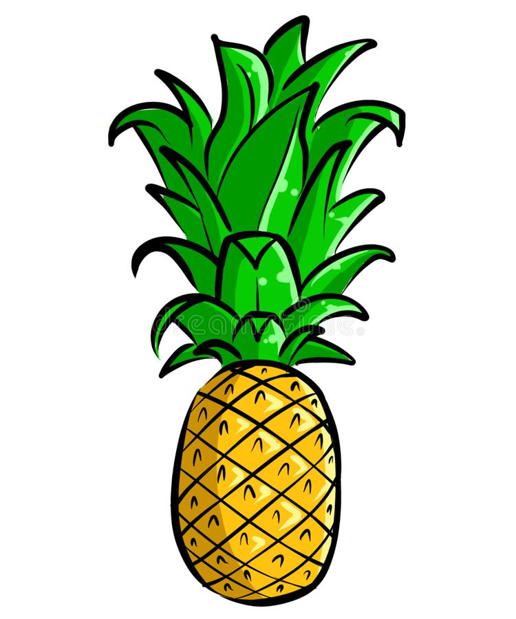 Illustration tirée par la main Clipart d'ananas images libres de droits