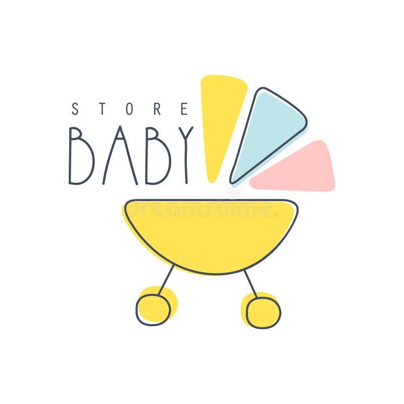 Illustration tirée par la main colorée de vecteur de logo de magasin de bébé illustration libre de droits