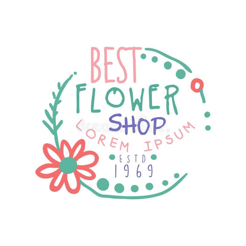 Illustration tirée par la main colorée de vecteur du meilleur de fleuriste calibre de logo illustration de vecteur