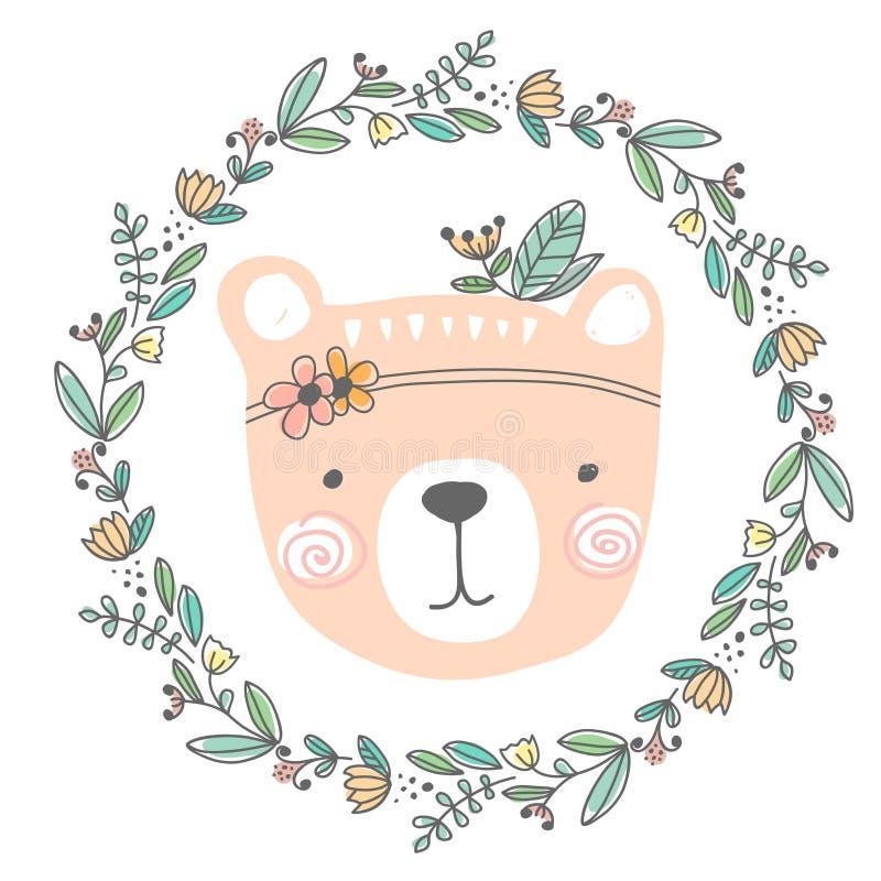 Illustration tirée par la main colorée stylisée de tête mignonne d'ours avec des fleurs et des feuilles conception pour l'habille illustration stock