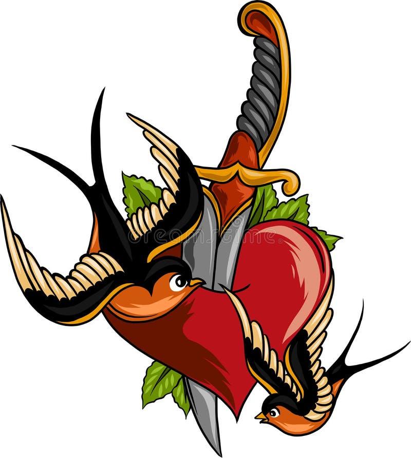 Illustration tirée par la main détaillée de la vieille perforation incurvée de couteau de poignard par le coeur L'industrie graph illustration libre de droits