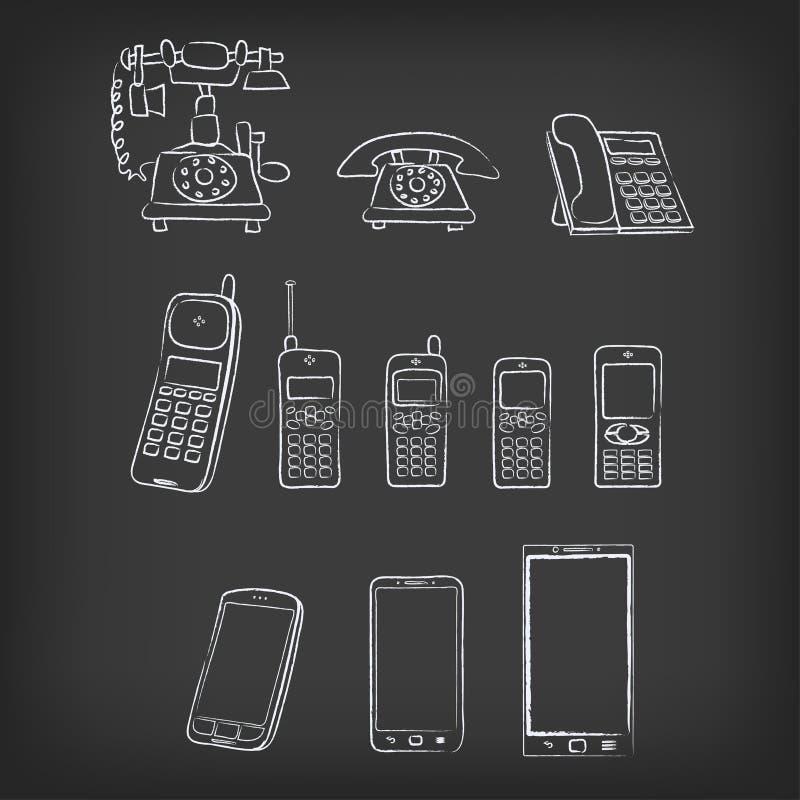 Illustration tirée par la main d'évolution de téléphone illustration stock
