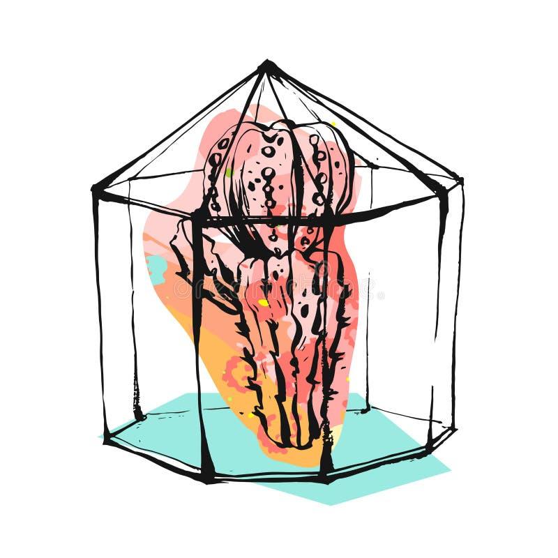 Illustration tirée par la main d'abrégé sur vecteur avec la mini-serre rugueuse et usine succulente dans la couleur en pastel d'i illustration libre de droits