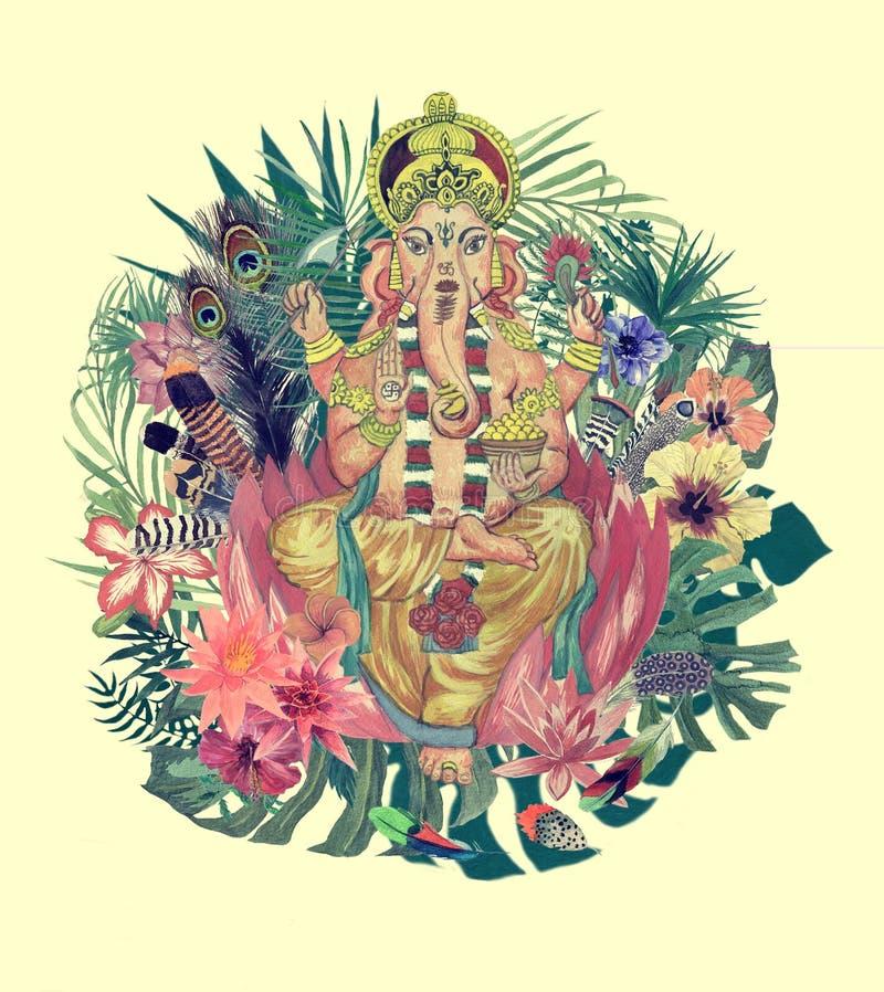 Illustration tirée par la main d'aquarelle avec le ganesha, fleurs, feuilles, plumes illustration libre de droits