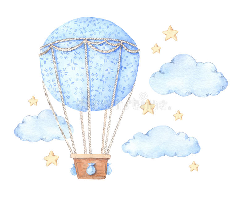 Illustration tirée par la main d'aquarelle - ballon à air chaud dans le ciel photos stock