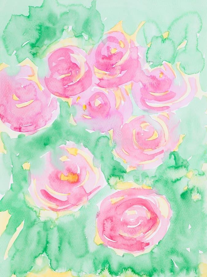 Illustration tirée par la main d'aquarelle des fleurs roses illustration stock