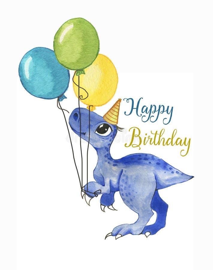 Illustration tirée par la main d'aquarelle de dinosaure mignon de bande dessinée avec les ballons colorés illustration stock