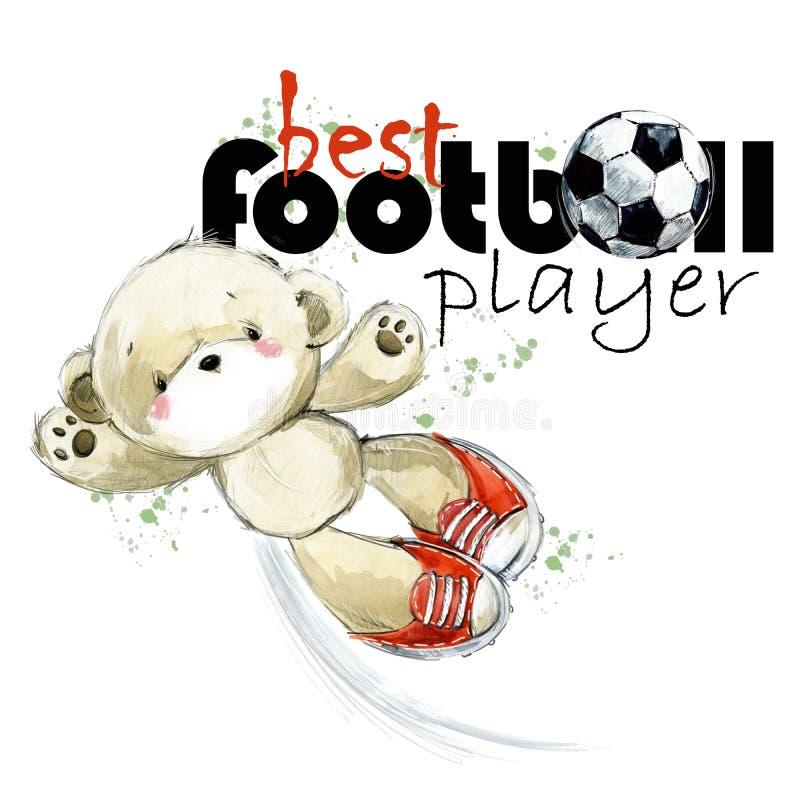Illustration tirée par la main d'aquarelle de nounours de footballeur mignon d'ours Le meilleur joueur de football illustration de vecteur